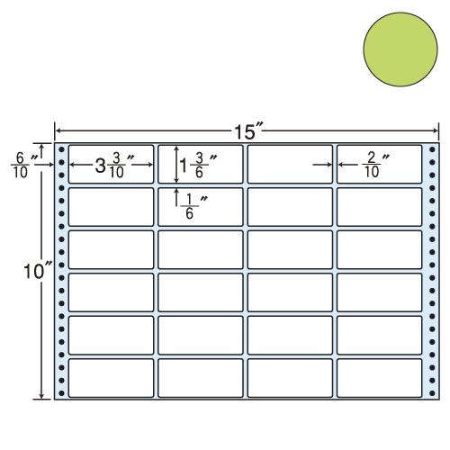 ラベルシール 東洋印刷 M15FG タックシール (連続ラベル) カラータイプグリーン 500折【代引不可】