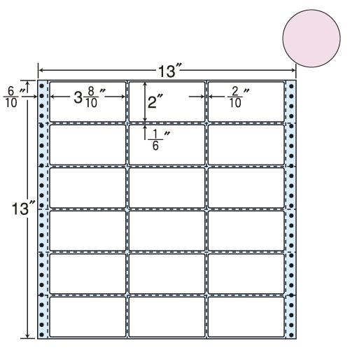 ラベルシール 東洋印刷 M13AP タックシール (連続ラベル) カラータイプピンク 500折【代引不可】