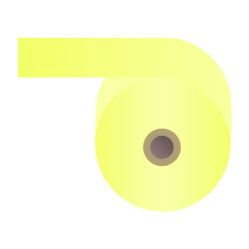 感熱紙券売機用ロール 裏巻 58×243×35mm イエロー ミシン目あり 5巻 (ノーマル・5年保存)【代引不可】