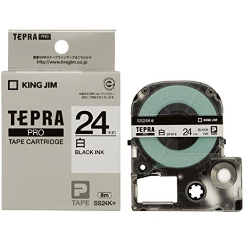 キングジム 「テプラ」PRO テプラテープ SS24K 24mm 白ラベル黒文字 10個セット