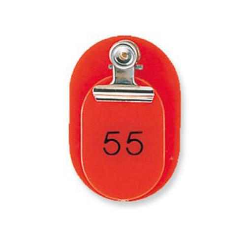 親と子がセットになったタイプの番号札です 取寄品 共栄プラスチック 有名な 親子番号札 小判型 大小2枚組 レッド 超激安 一部地域除く 目玉クリップ付 CT-1-51-145001 51~100番 送料無料