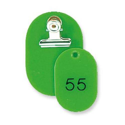 親と子がセットになったタイプの番号札です 取寄品 共栄プラスチック 親子番号札 春の新作 激安特価品 小判型 大小2枚組 送料無料 目玉クリップ付 CT-1-51-145056 51~100番 一部地域除く 黄緑