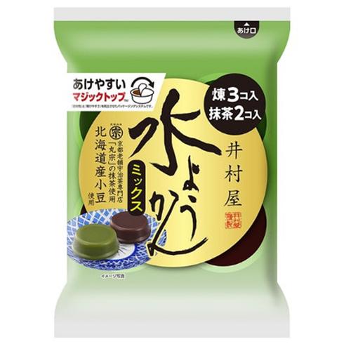 煉も抹茶もどちらも食べたい方におすすめ 井村屋 袋入水ようかん ミックス 人気ブランド 62g×5個入 購買