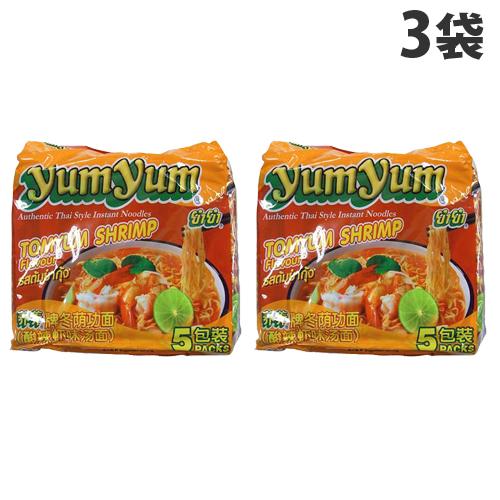 辛みと酸味のあるスープにえびの風味を加えたラーメンです YumYum (人気激安) インスタントヌードル 5P×3袋 トムヤムシュリンプ味 無料