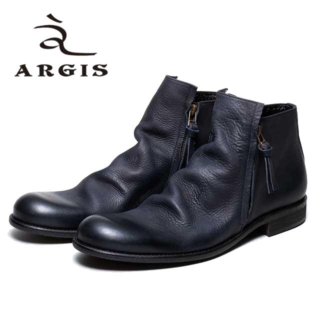 [10bi]ARGIS アルジス12112 ダブル ジップブーツ メンズ カジュアルBLACK ブラック ドレープ 本革 革靴 ショートブーツセメント製法 合成底 日本製 【店頭受取対応商品】