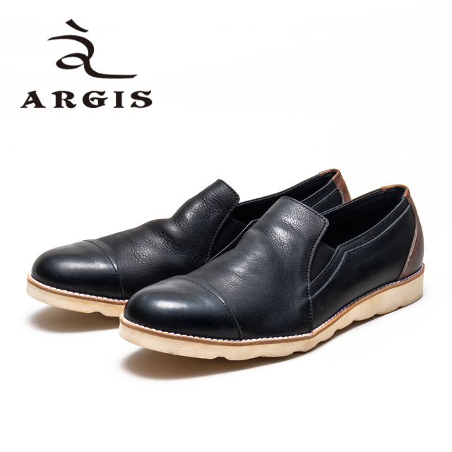 レビューを書いて靴磨きクロスをプレゼント ARGIS アルジス 21102 スリッポン 革靴 メンズ スニーカー 本革 25%OFF 日本製 黒 カジュアル ボブソール コンビ 合成底 売買 店頭受取対応商品 セメント製法 ブラック おしゃれ