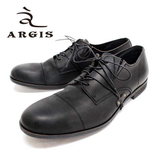 【SALE】ARGIS アルジス51101 BLACK 黒 外羽根 ストレートチップ変わり紐デザイン カジュアルシューズ 本革 革靴 靴 メンズ【日本製】【店頭受取対応商品】