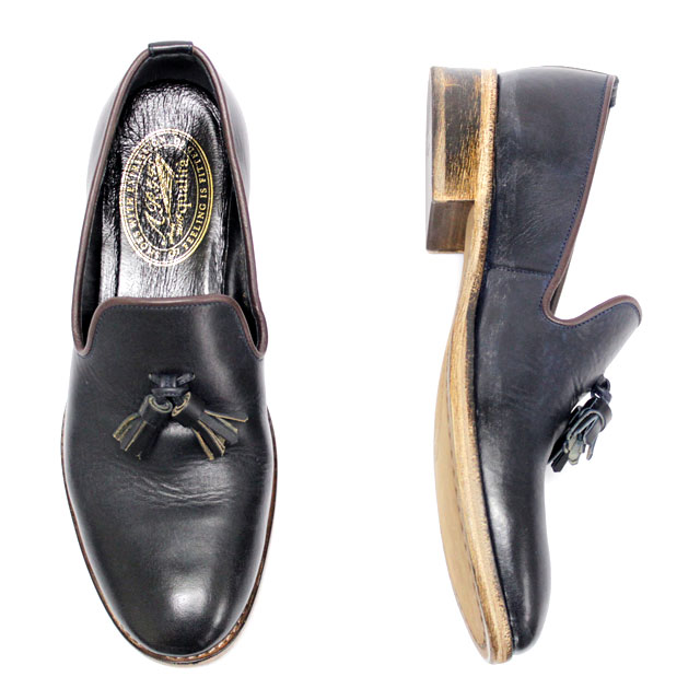 ARGIS qualita アルジス クオリタ51310 タッセル スリッポン プレーントゥNAVY ネイビー メンズ カジュアル本革 革靴 靴 【日本製】 【店頭受取対応商品】