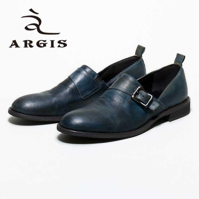 【SALE/LAST】ARGIS アルジス71118 シングルモンク スリッポン シューズ メンズNAVY ネイビー レザー カジュアル 本革 革靴日本製 Made in JAPAN 【あす楽】【店頭受取対応商品】