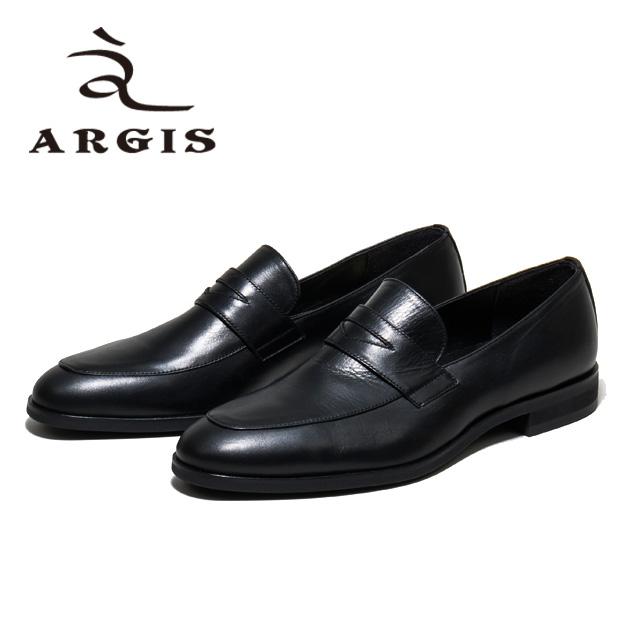 ARGIS アルジス81118 コインローファー 革靴 カジュアル メンズBLACK 黒 ローファー スリッポンレザーシューズ シューズ 本革日本製 Made in JAPAN【店頭受取対応商品】