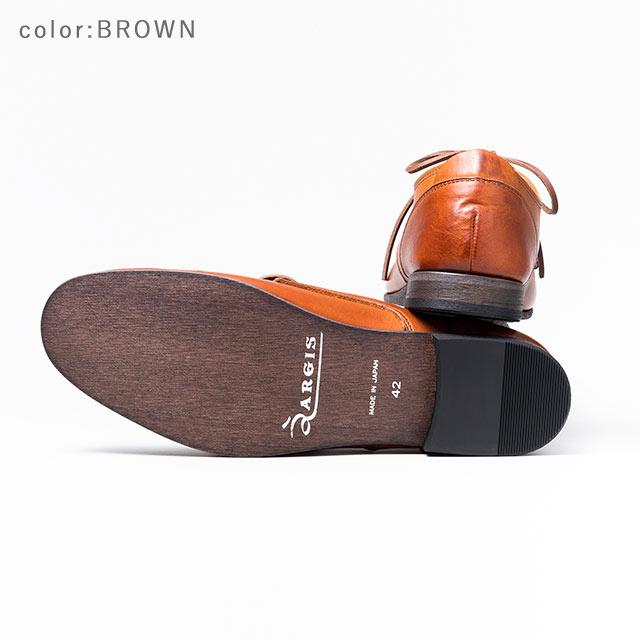 ARGIS アルジス91102 3アイレット ギブソン 外羽根BLACK 黒 レザー シューズ メンズ カジュアルビジネス ストレートチップ 革靴 本革 革紐日本製 Made in JAPAN 【あす楽】【店頭受取対応商品】