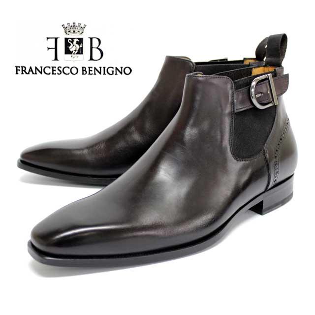 レビューを書いて靴磨きクロスをプレゼント FRANCESCO BENIGNO お中元 フランチェスコ ベニーニョ 3622 サイドゴアブーツ ベルト メンズ 毎日続々入荷 本革 店頭受取対応商品 革靴 ブーツ ダークブラウン レザーソール 靴 ROSSO イタリア製