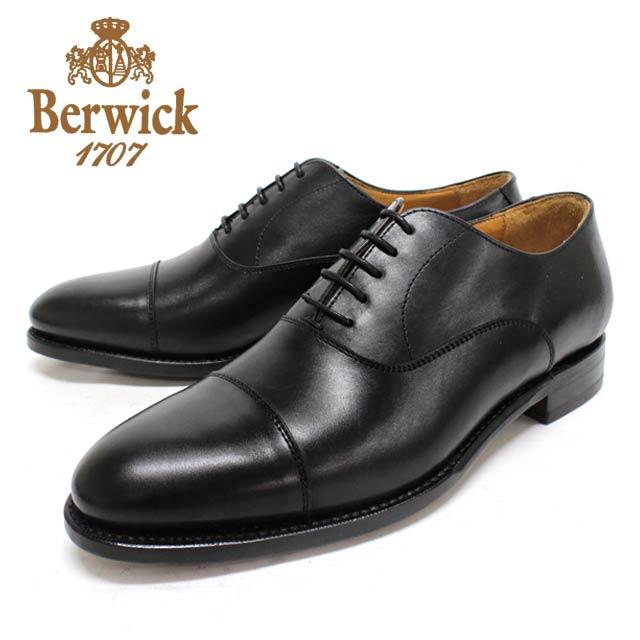 Berwick バーウィック3010 BLACK 黒内羽根ストレートチップラウンド レザーソール本革 革靴 靴 メンズ【スペイン製】【店頭受取対応商品】