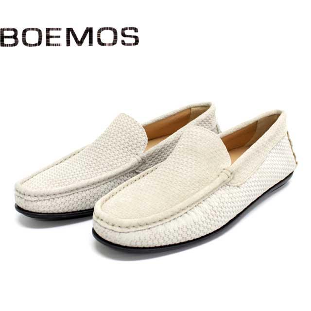 [10bi]BOEMOS ボエモス3157 メッシュ スリッポン スエード メンズ シューズBEIGE SDE ネイビー 本革 革靴 靴 ラバーソール カジュアル【イタリア製】【店頭受取対応商品】