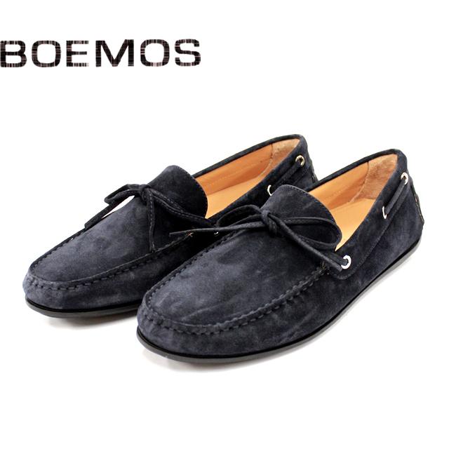 [10bi]BOEMOS ボエモス3170 リボン スリッポン スエード メンズ シューズNAVY ネイビー 本革 革靴 靴 ラバーソール カジュアル【イタリア製】【店頭受取対応商品】