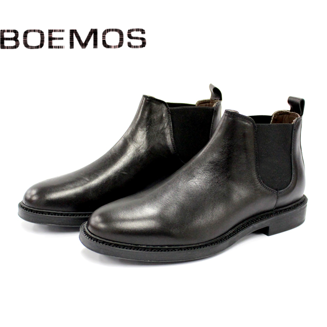 [10bi]BOEMOS ボエモス4792 サイドゴア ブーツ スエード メンズNERO 黒 本革 ラバーソール紳士 革靴 靴 シューズ マッケイ【イタリア製】【店頭受取対応商品】