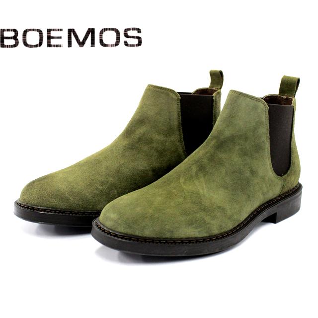 [10bi]BOEMOS ボエモス4792 サイドゴア ブーツ スエード メンズVERDE グリーン 本革 ラバーソール紳士 革靴 靴 シューズ マッケイ【イタリア製】【店頭受取対応商品】
