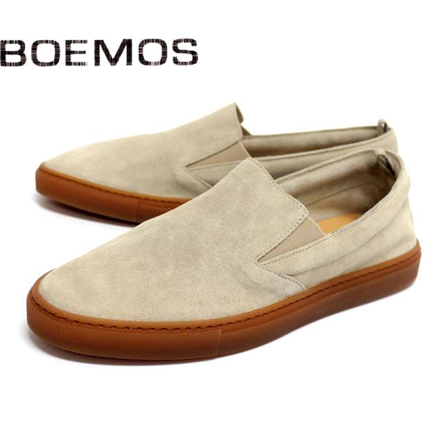 [10bi]BOEMOS ボエモス4843 スニーカー スリッポン スエード メンズ カジュアルBEIGE.S ベージュ 本革 革靴 靴 ラバーソール シューズ【イタリア製】【店頭受取対応商品】
