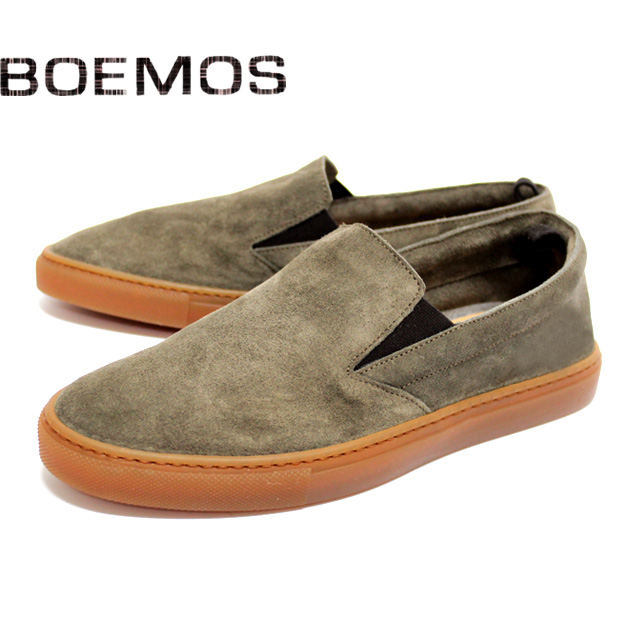 [10bi]BOEMOS ボエモス4843 スニーカー スリッポン スエード メンズ カジュアルKARIBU.S グレー 本革 革靴 靴 ラバーソール シューズ【イタリア製】【店頭受取対応商品】