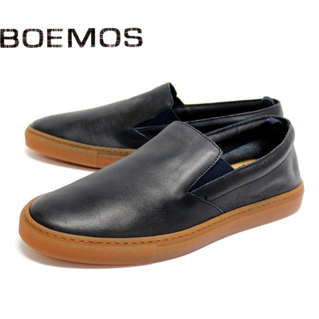 [10bi]BOEMOS ボエモス4843 スニーカー スリッポン スムースレザー メンズ カジュアルNAVY ネイビー 本革 革靴 靴 ラバーソール シューズ【イタリア製】【店頭受取対応商品】