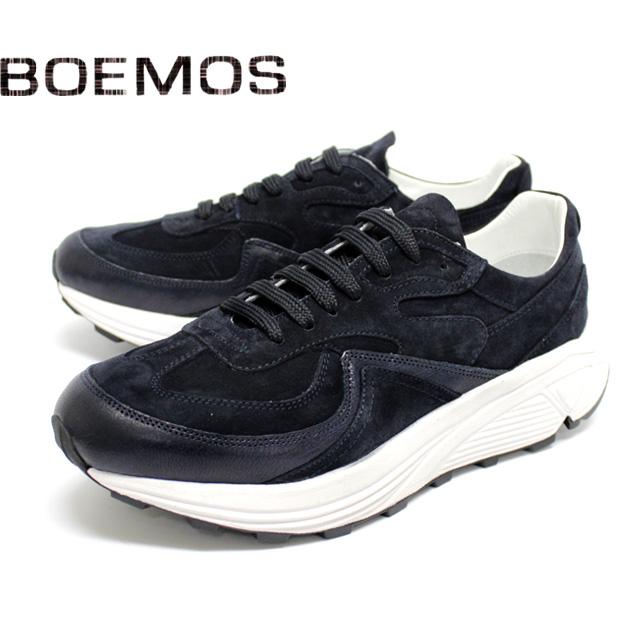 BOEMOS ボエモス4847 スニーカー ダッドスニーカー メンズ カジュアルNAVY ネイビー ビブラムソール 本革 スエード シューズ 革靴 靴【イタリア製】【店頭受取対応商品】