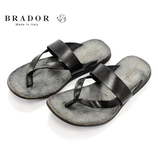 BRADOR ブラドール46455 サンダル メンズ レザー トング NERO ブラック本革 革靴 靴 カジュアル ラバーソール【イタリア製】【店頭受取対応商品】