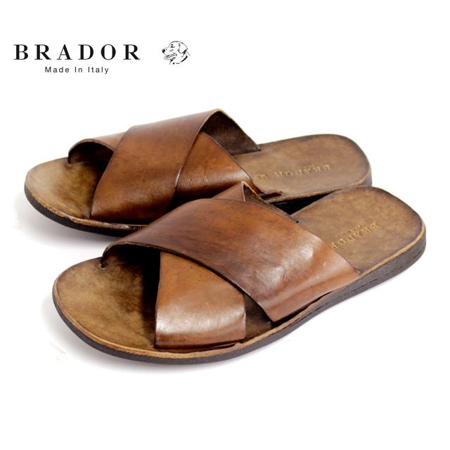 BRADOR ブラドールD46510 サンダル メンズ レザー クロス BROWN ブラウン本革 革靴 靴 カジュアル【イタリア製】【店頭受取対応商品】