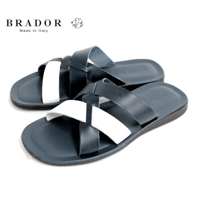 BRADOR ブラドールD46548 サンダル メンズ レザー クロス NAVY ネイビー本革 革靴 靴 カジュアル【イタリア製】【店頭受取対応商品】