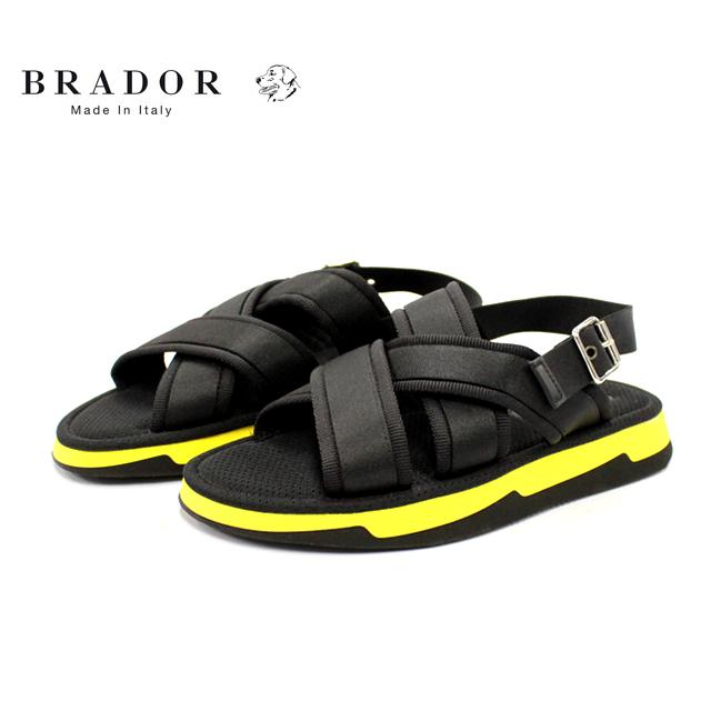 レビューを書いて靴磨きクロスをプレゼント SALE BRADOR ブラドール H64728 通常便なら送料無料 スポーツサンダル メンズ サンダル クロス 店頭受取対応商品 カジュアル 販売実績No.1 靴 ブラック ラバーソール レザー BLACK イタリア製 革靴