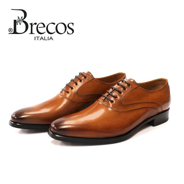 21SS新作 Brecos ブレコス 9841 ビジネスシューズ 本革 メンズ イタリア製 革靴 マッケイ製法 ブラウン 2020 紳士 店頭受取対応商品 スワンネック レザーソール 内羽根 安値 小さいサイズ シエナ プレーントゥ ビジネス