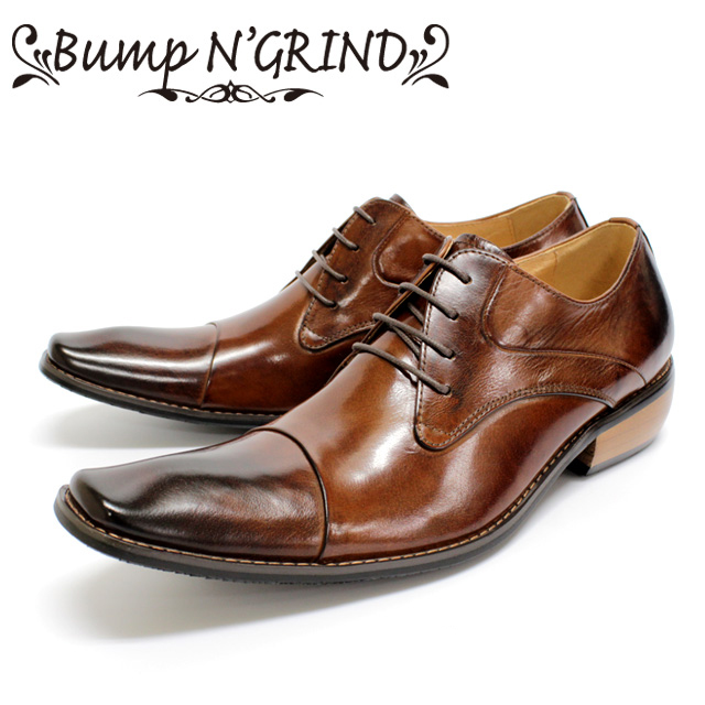 [10bi]Bump N' GRIND バンプアンドグラインド2799 ビジネスシューズ 本革 メンズ 外羽根CAMEL キャメル ストレートチップ 革靴 短靴セメント製法 ラバーソール 【店頭受取対応商品】