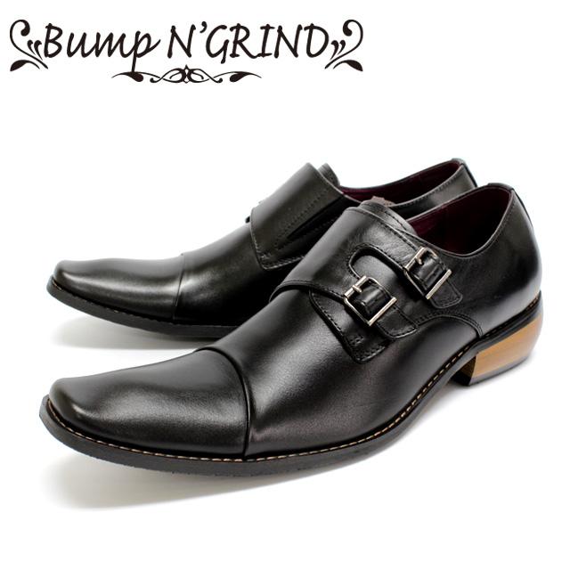 [10bi]Bump N' GRIND バンプアンドグラインド2800 ビジネスシューズ 本革 メンズ ダブルモンクBLACK ブラック ストレートチップ 革靴 短靴セメント製法 ラバーソール 【店頭受取対応商品】