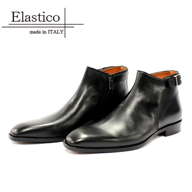 [10bi]Elastico エラスティコH31 ショートブーツ 本革 メンズ カジュアルNERO ブラック プレーントゥ 革靴 サイドジップマッケイ製法 レザーソール 革底 イタリア製 【店頭受取対応商品】