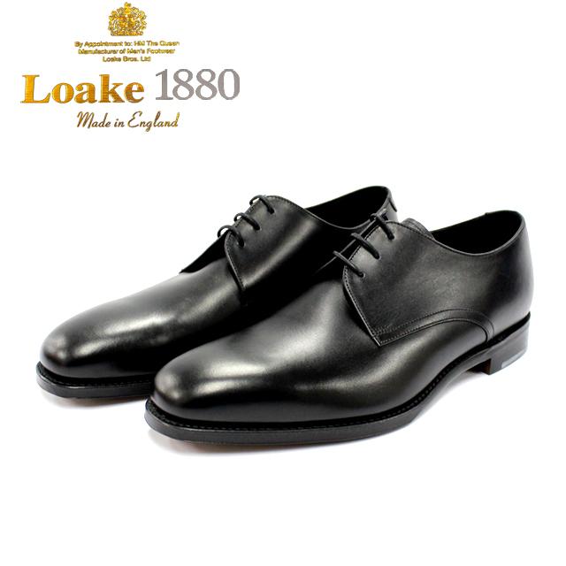 [10bi]LOAKE ロークDOWNING 外羽根 プレーン 3穴本革 革靴 靴 メンズ レザーソール BLACK 黒【店頭受取対応商品】