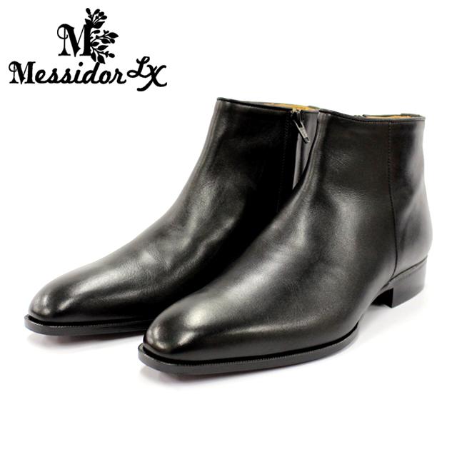 Messidor LX メッシドール ラグジュアリー4007 ブーツ メンズ 本革 サイドジップBLACK ブラック ショートブーツ セミスクエア革靴 靴 レザーソール 【日本製】【店頭受取対応商品】