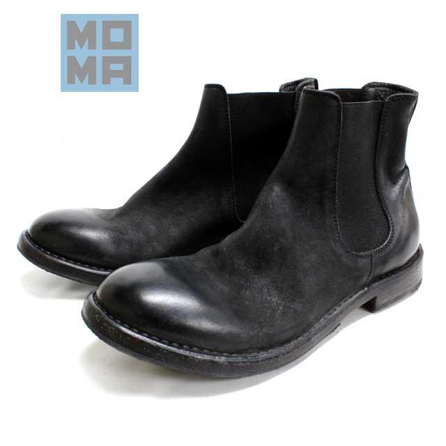 [10bi]MOMA モーマ66705 サイドゴアブーツ プレーントゥカジュアル ラウンド 黒本革 革靴 靴 メンズ【イタリア製】【店頭受取対応商品】