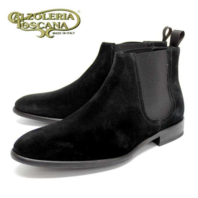 Calzoleria Toscanaカルツォレリア トスカーナ4019 サイドゴア ブーツ ビブラムソール メンズBLACK 黒 スエード 本革 革靴 レザーソール ビジネス 靴【イタリア製】【店頭受取対応商品】