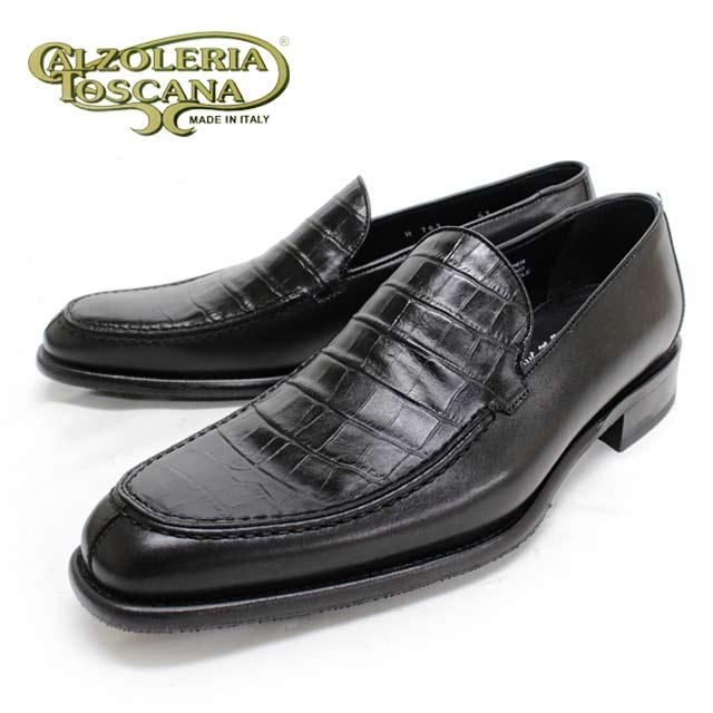【SALE/LAST】Calzoleria Toscanaカルツォレリア トスカーナ 761 NERO型押クロコ スリッポン本革 革靴 レザーソール メンズ ビジネス【イタリア製】【店頭受取対応商品】