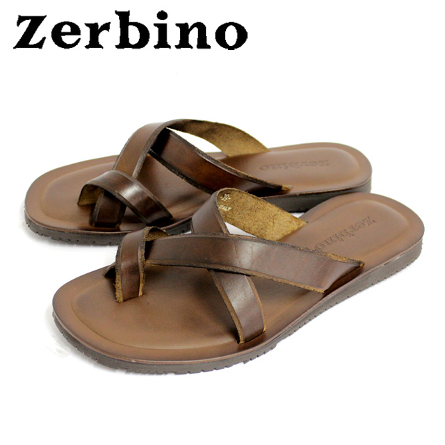 [10bi]Zerbino ゼルビーノ5003 サンダル メンズ レザー トング MARRONE ブラウンレザー カジュアル 本革 革 紳士 靴【イタリア製】 【店頭受取対応商品】