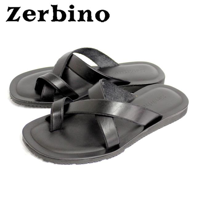 [10bi]Zerbino ゼルビーノ5003 サンダル メンズ トング NERO ブラックレザー カジュアル 本革 革 紳士 靴【イタリア製】 【店頭受取対応商品】