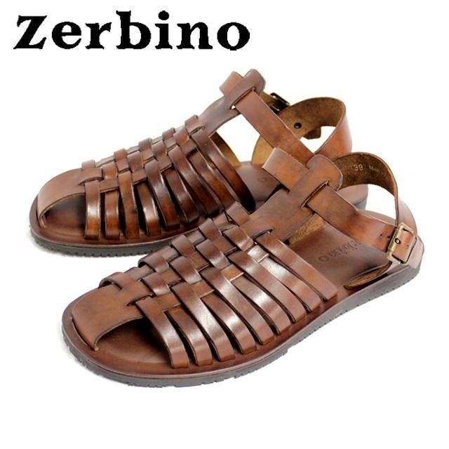 [10bi]Zerbino ゼルビーノ5482 サンダル メンズ レザー グラディエーター MARRONE ブラウンカジュアル 本革 革 紳士 靴【イタリア製】 【店頭受取対応商品】