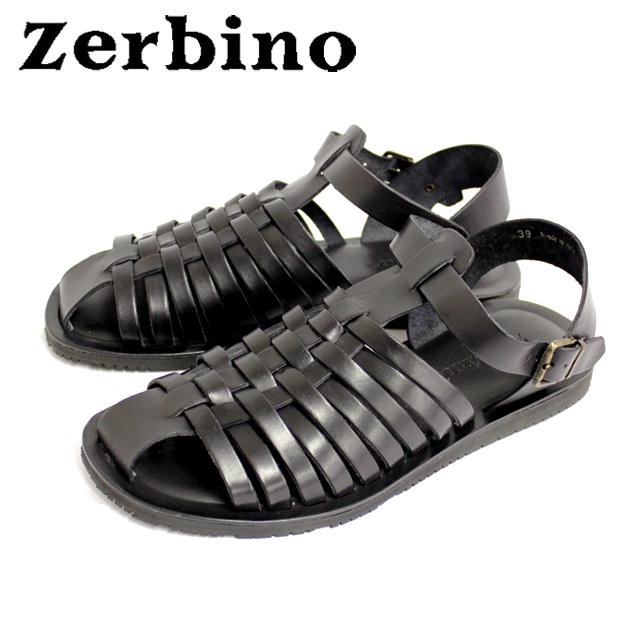 [10bi]Zerbino ゼルビーノ5482 サンダル レザー メンズ グラディエーター NERO ブラックカジュアル 本革 革 紳士 靴【イタリア製】 【店頭受取対応商品】