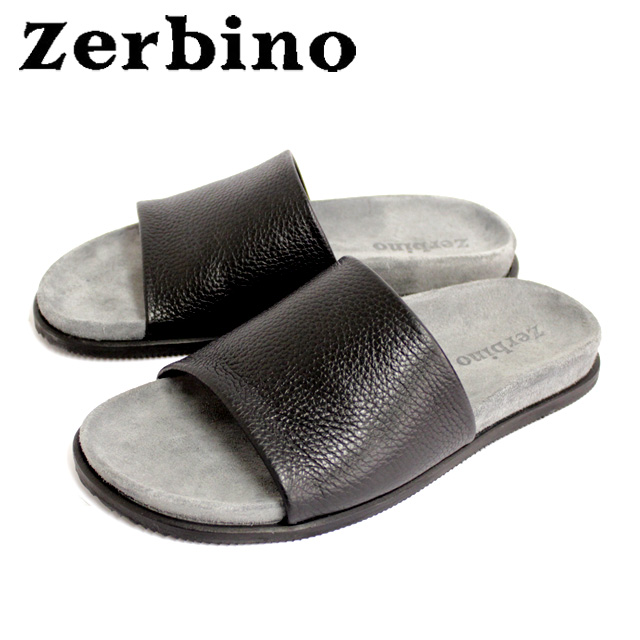 Zerbino ゼルビーノ6887 サンダル メンズ レザー NERO ブラックフットベット カジュアル 本革 革 紳士 靴【イタリア製】 【店頭受取対応商品】