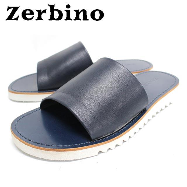 Zerbino ゼルビーノ6887 サンダル メンズ レザーBLUE ネイビー 本革 カジュアル【イタリア製】 【店頭受取対応商品】
