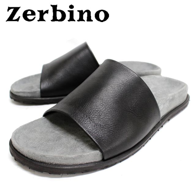 Zerbino ゼルビーノ6887 NERO 黒 サンダルレザー カジュアル メンズ【イタリア製】 【店頭受取対応商品】