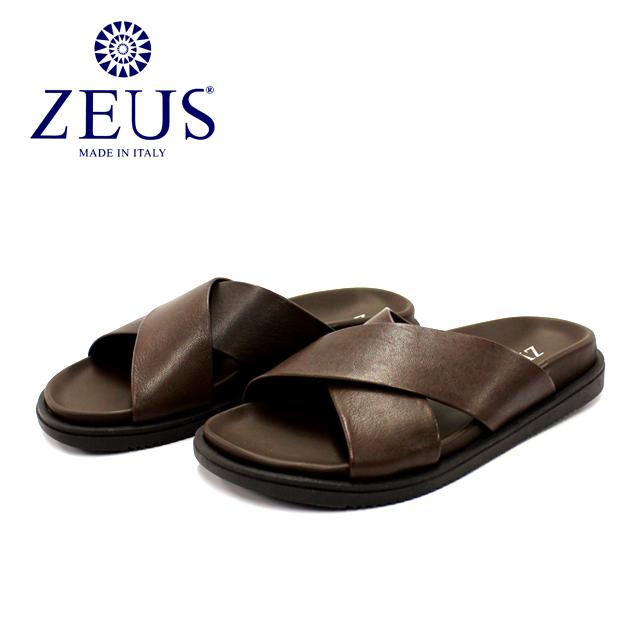 ZEUS ゼウス1730 サンダル メンズ レザー クロス T.MORO ブラウン本革 革靴 靴 カジュアル ラバーソール【イタリア製】【店頭受取対応商品】