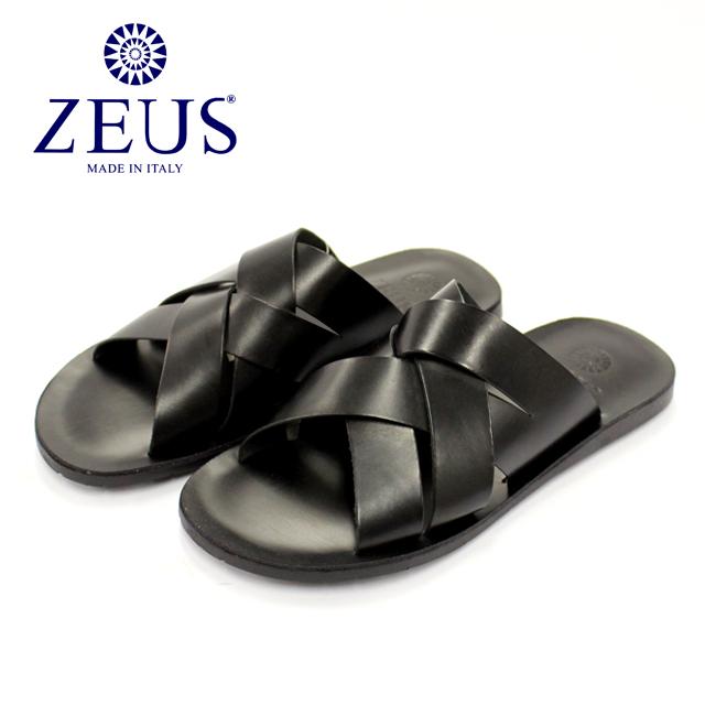 [10bi]ZEUS ゼウス1932 サンダル メンズ レザー 編み込み NERO ブラック本革 革靴 靴 カジュアル ラバーソール【イタリア製】【店頭受取対応商品】
