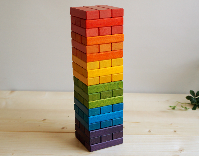 Rainbow Jenga-only wooden boxes with stylish wood JENGA! Christmas gift, birthday, gifts to! Popular with both adults and children can enjoy wood toy blocks and blocks, Interior Jenga