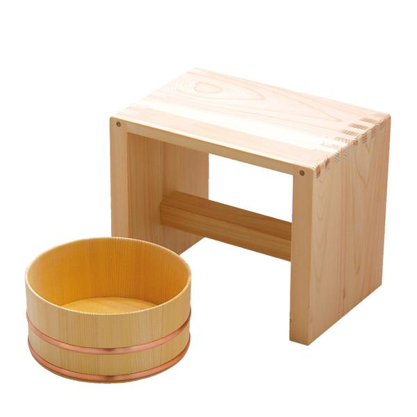 店舗 湯桶と風呂椅子のセット 父の日 スーパーセール 母の日 敬老の日ギフト 新生活のプレゼント 湯浴セット プレゼントに 木製のギフトアイテム