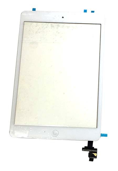 【iPad Mini】フロントパネルデジタイザ ホワイト【アイパッドミニ修理交換用部品】【タッチパネル+前面ガラス+ホームボタン】